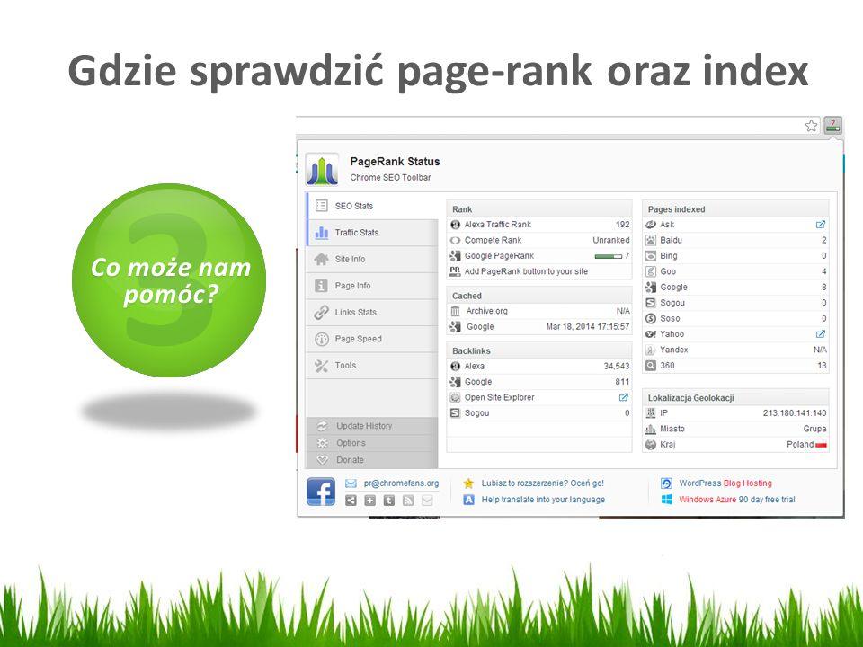 Gdzie sprawdzić page-rank oraz index