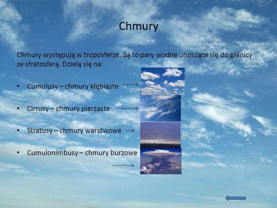 Chmury Chmury występują w troposferze. Są to pary wodne unoszące się do granicy ze stratosferą. Dzielą się na: