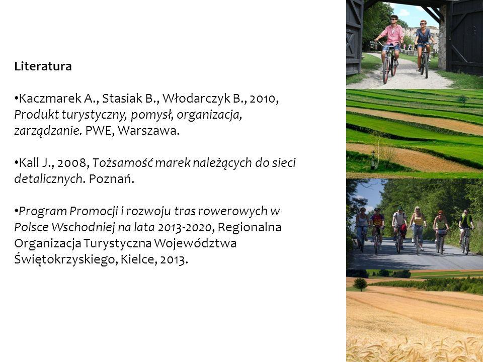 Literatura Kaczmarek A., Stasiak B., Włodarczyk B., 2010, Produkt turystyczny, pomysł, organizacja, zarządzanie. PWE, Warszawa.