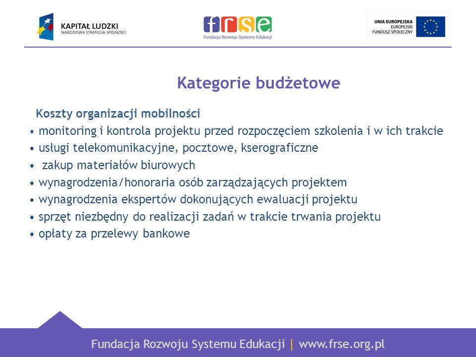 Kategorie budżetowe Koszty organizacji mobilności