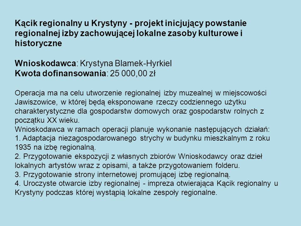 Wnioskodawca: Krystyna Blamek-Hyrkiel