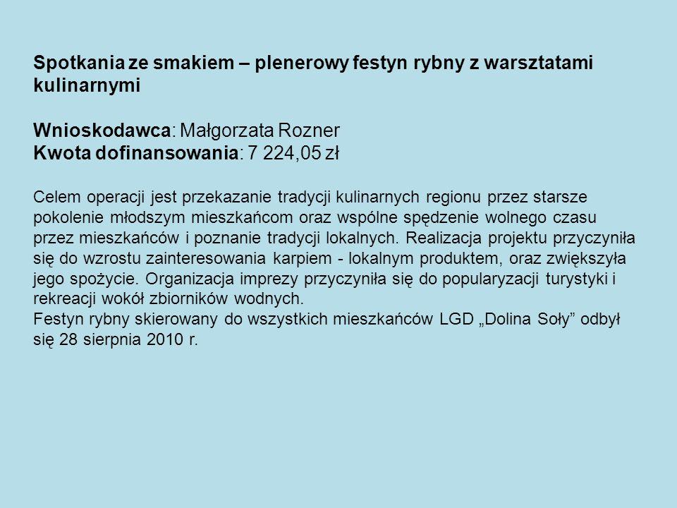 Wnioskodawca: Małgorzata Rozner Kwota dofinansowania: 7 224,05 zł
