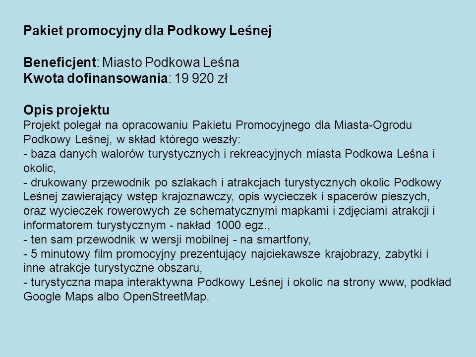 Pakiet promocyjny dla Podkowy Leśnej Beneficjent: Miasto Podkowa Leśna