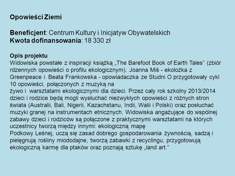 Beneficjent: Centrum Kultury i Inicjatyw Obywatelskich