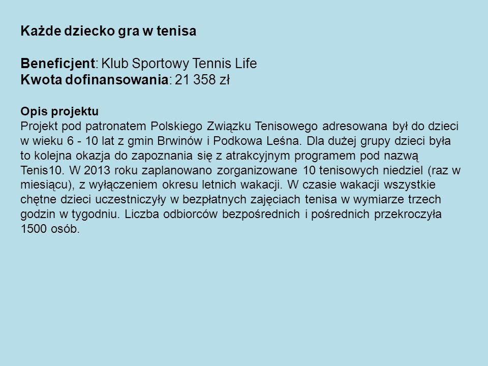 Każde dziecko gra w tenisa Beneficjent: Klub Sportowy Tennis Life