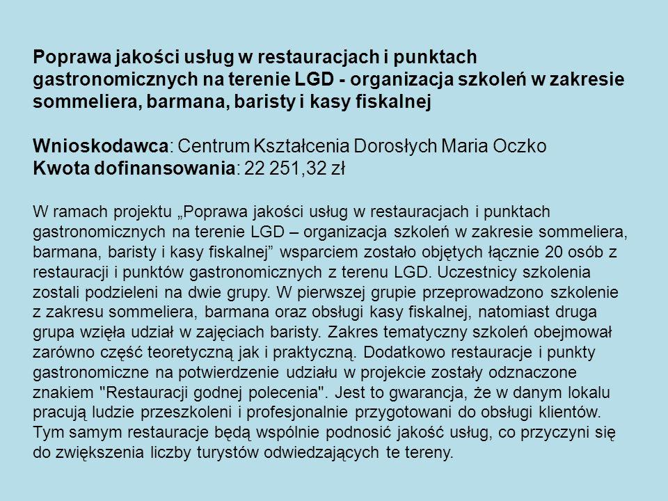 Wnioskodawca: Centrum Kształcenia Dorosłych Maria Oczko
