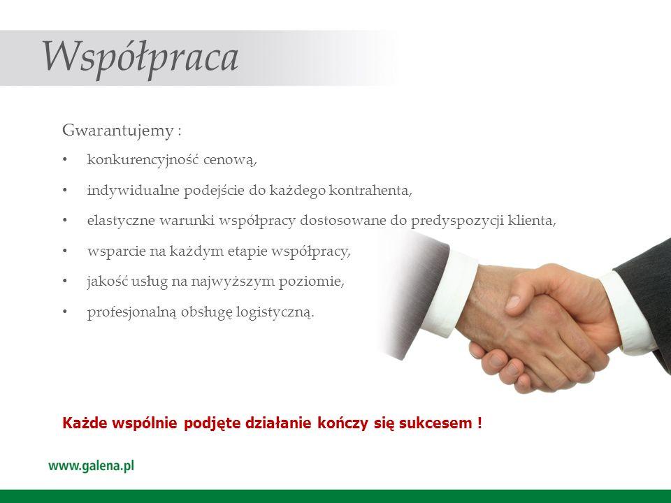 Współpraca Gwarantujemy : konkurencyjność cenową,
