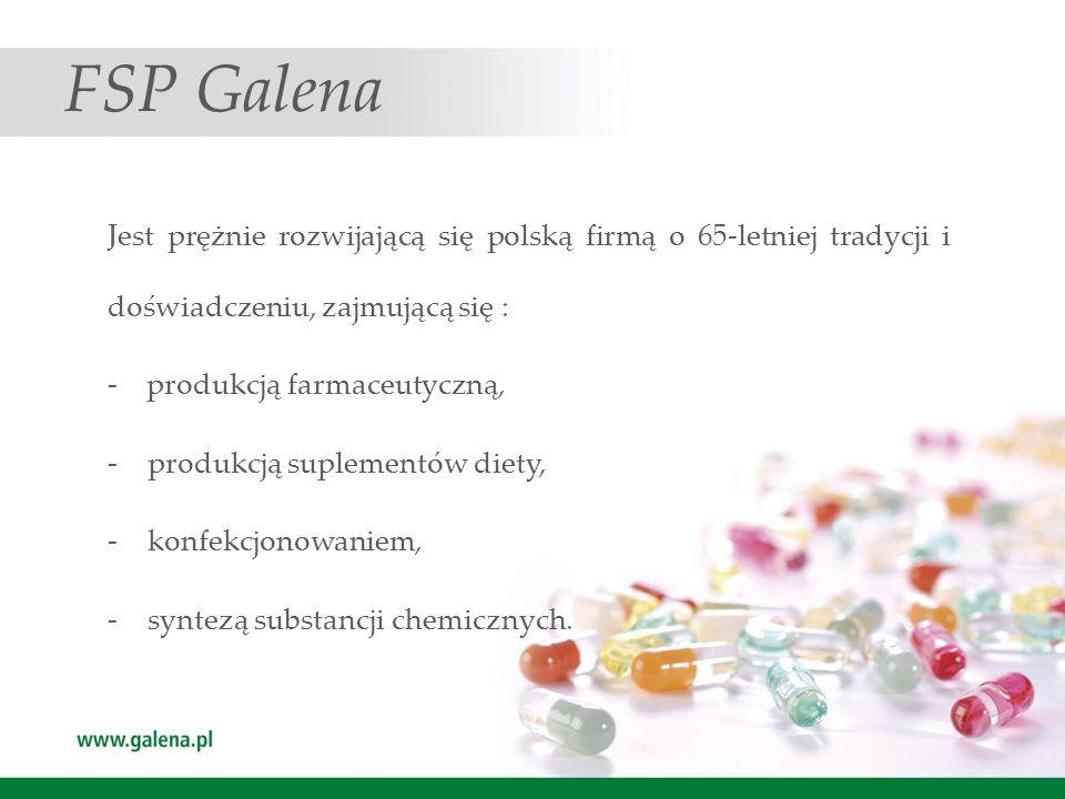 FSP Galena Jest prężnie rozwijającą się polską firmą o 65-letniej tradycji i doświadczeniu, zajmującą się :