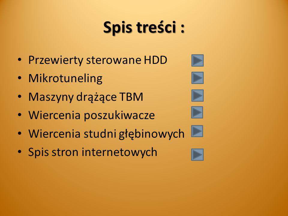 Spis treści : Przewierty sterowane HDD Mikrotuneling