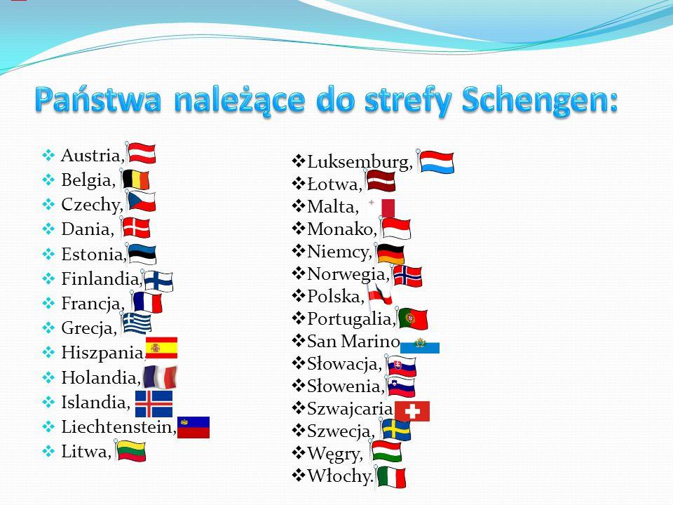 Państwa należące do strefy Schengen:
