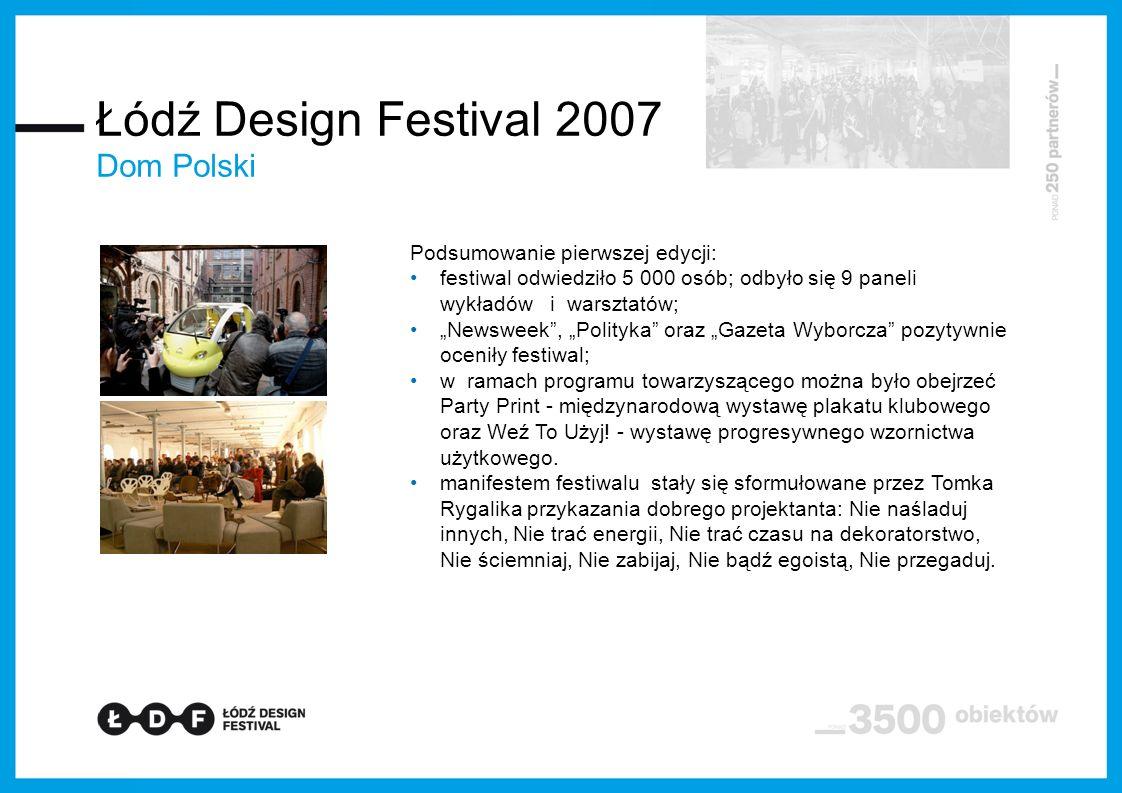 Łódź Design Festival 2007 Dom Polski Podsumowanie pierwszej edycji:
