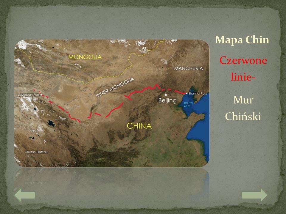 Mapa Chin Czerwone linie- Mur Chiński