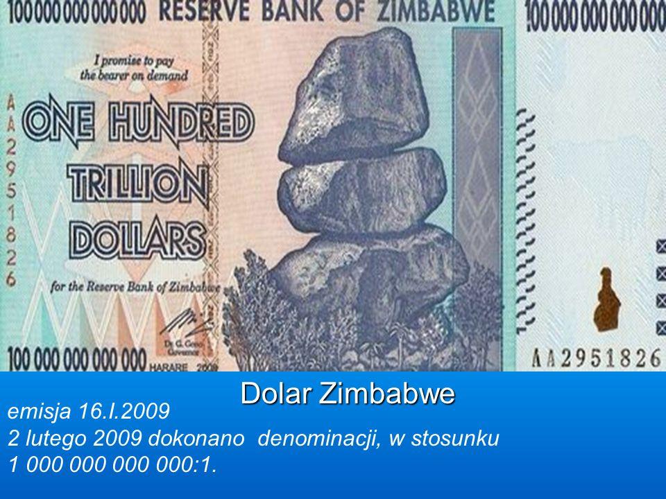 Dolar Zimbabwe emisja 16.I.2009