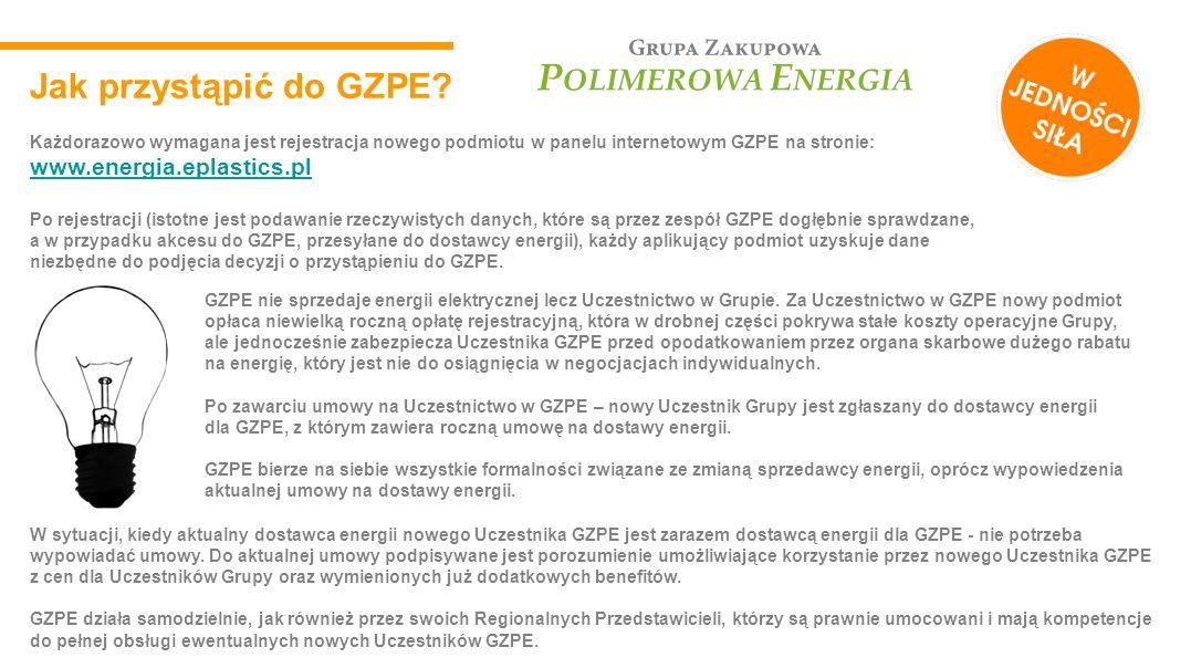 Jak przystąpić do GZPE Każdorazowo wymagana jest rejestracja nowego podmiotu w panelu internetowym GZPE na stronie: www.energia.eplastics.pl.