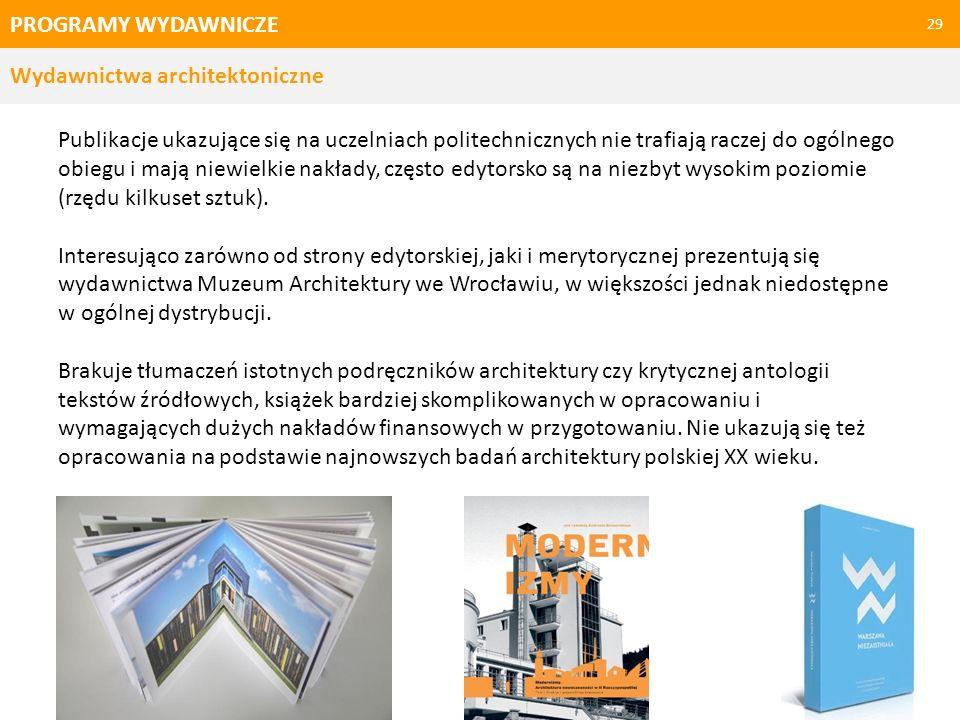PROGRAMY WYDAWNICZE Wydawnictwa architektoniczne.