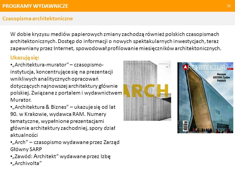 PROGRAMY WYDAWNICZE Czasopisma architektoniczne.