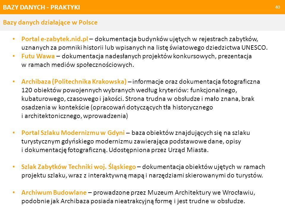 BAZY DANYCH - PRAKTYKI Bazy danych działające w Polsce.