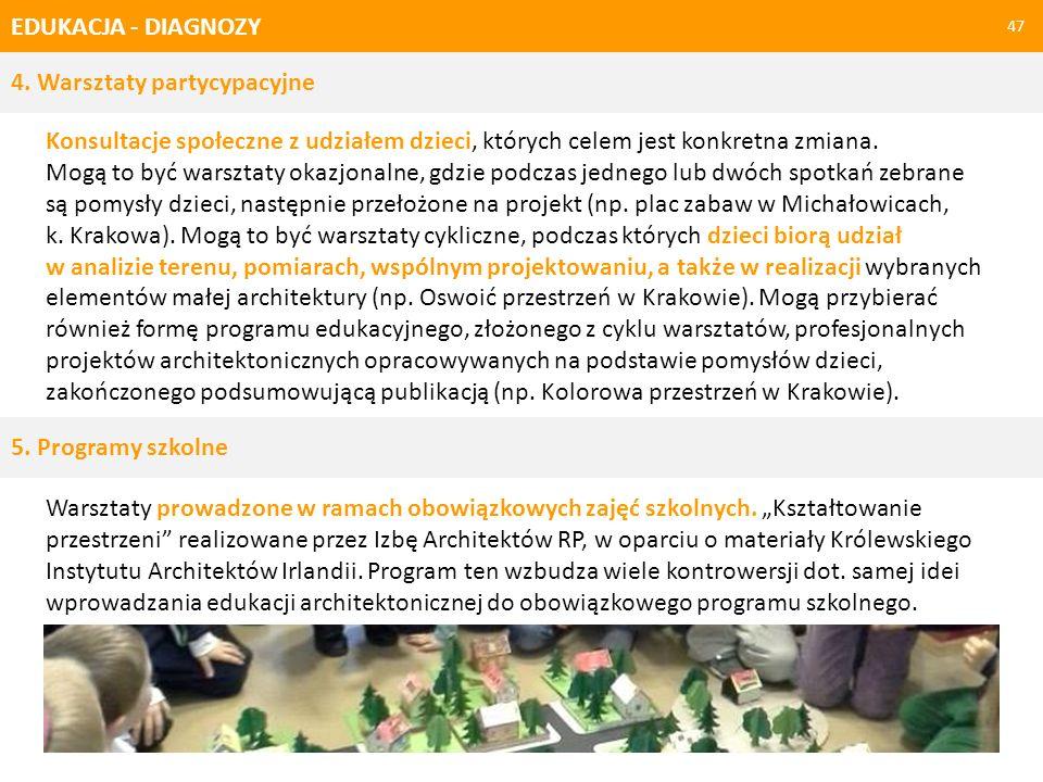 EDUKACJA - DIAGNOZY 4. Warsztaty partycypacyjne.