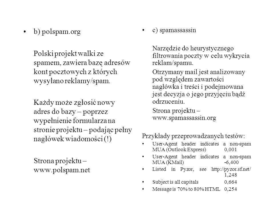Strona projektu – www.polspam.net