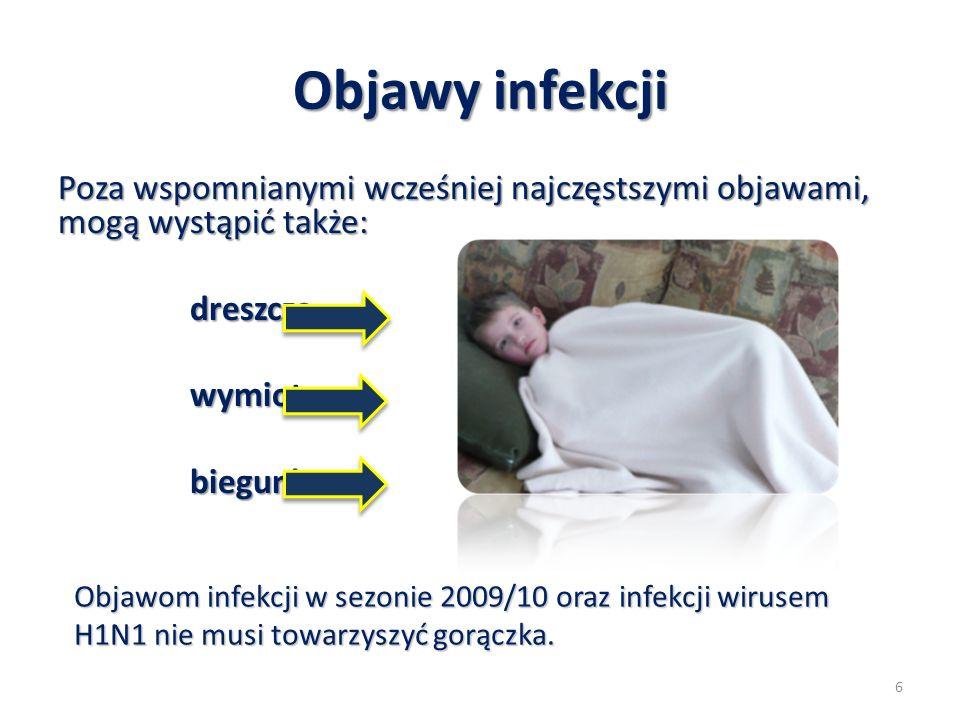 Objawy infekcji Poza wspomnianymi wcześniej najczęstszymi objawami, mogą wystąpić także: dreszcze.