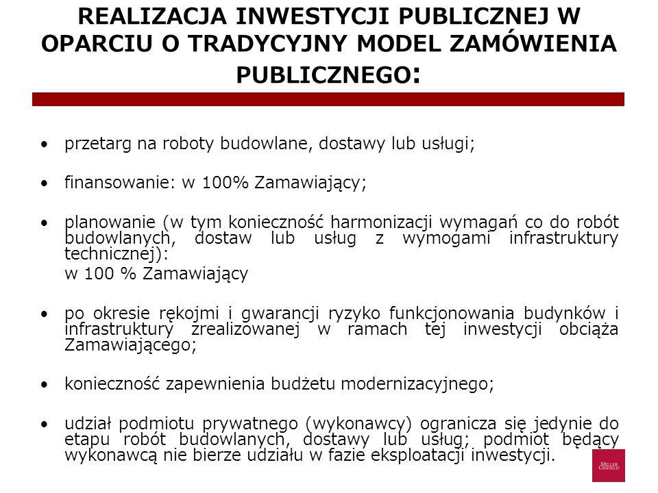 REALIZACJA INWESTYCJI PUBLICZNEJ W OPARCIU O TRADYCYJNY MODEL ZAMÓWIENIA PUBLICZNEGO: