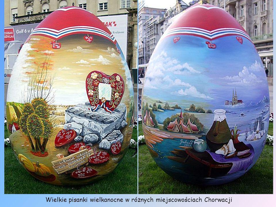 Wielkie pisanki wielkanocne w różnych miejscowościach Chorwacji