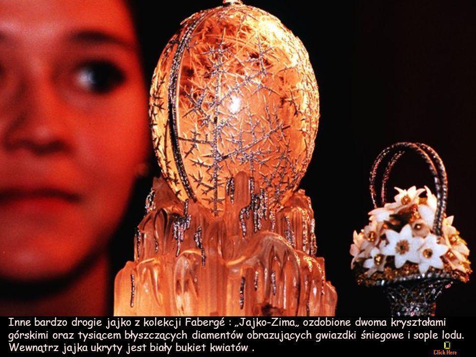 """Inne bardzo drogie jajko z kolekcji Fabergé : """"Jajko-Zima"""" ozdobione dwoma kryształami górskimi oraz tysiącem błyszczących diamentów obrazujących gwiazdki śniegowe i sople lodu."""