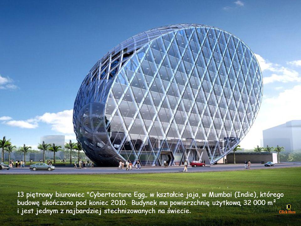 """13 piętrowy biurowiec Cybertecture Egg"""" w kształcie jaja, w Mumbai (Indie), którego"""