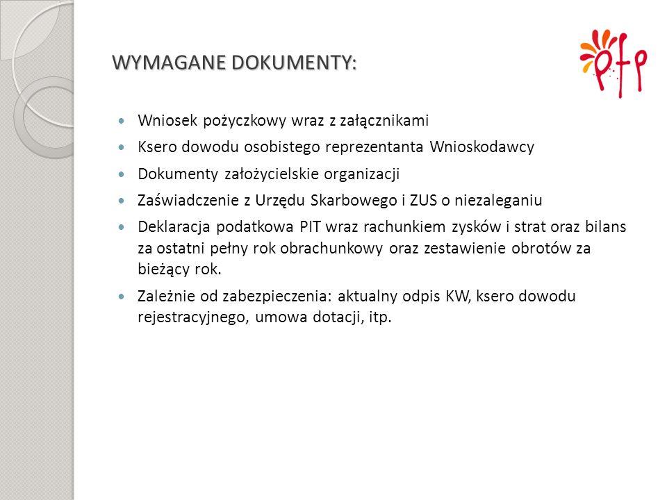 WYMAGANE DOKUMENTY: Wniosek pożyczkowy wraz z załącznikami