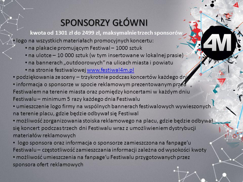 SPONSORZY GŁÓWNI kwota od 1301 zł do 2499 zł, maksymalnie trzech sponsorów. logo na wszystkich materiałach promocyjnych koncertu: