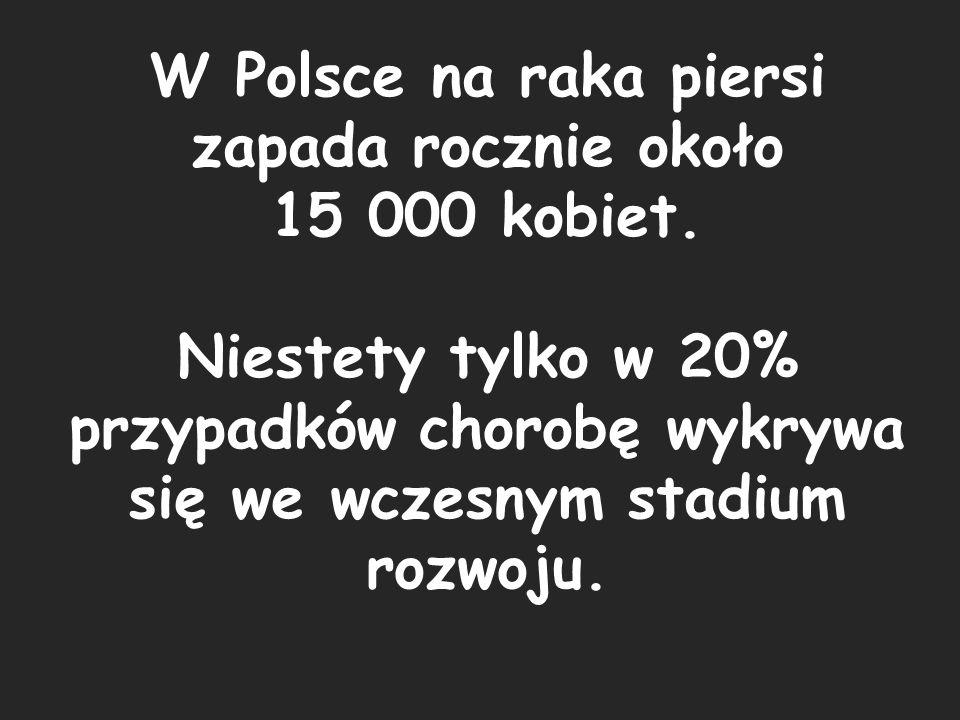 W Polsce na raka piersi zapada rocznie około 15 000 kobiet.