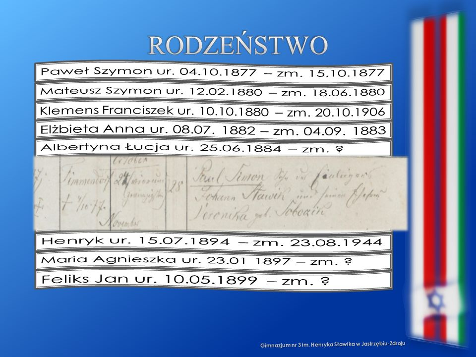 Rodzeństwo Paweł Szymon ur. 04.10.1877 – zm. 15.10.1877
