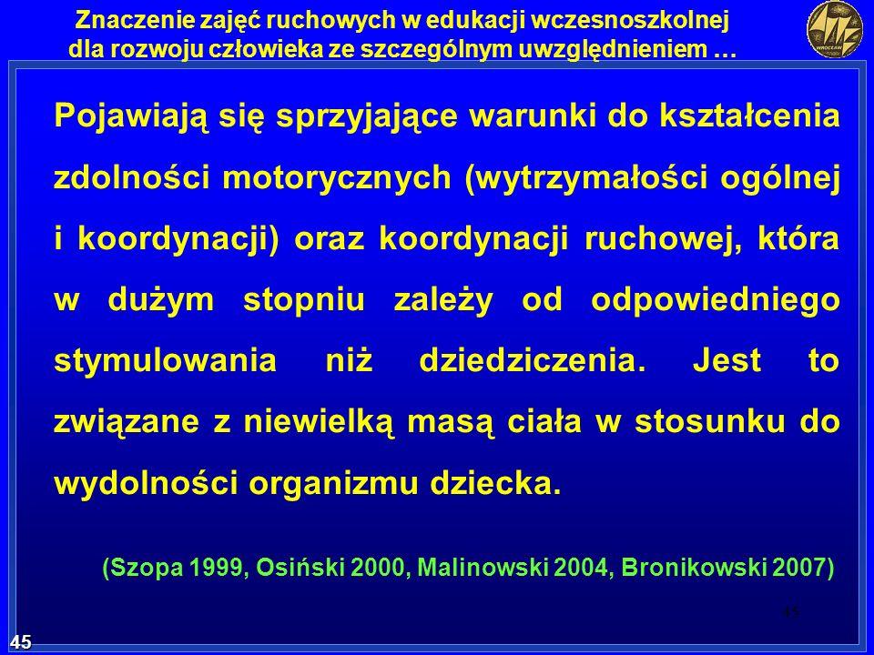 (Szopa 1999, Osiński 2000, Malinowski 2004, Bronikowski 2007)