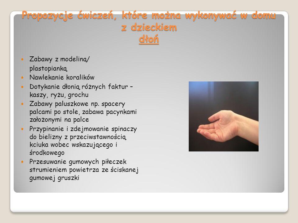 Propozycje ćwiczeń, które można wykonywać w domu z dzieckiem dłoń
