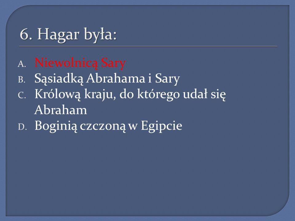 6. Hagar była: Niewolnicą Sary Sąsiadką Abrahama i Sary