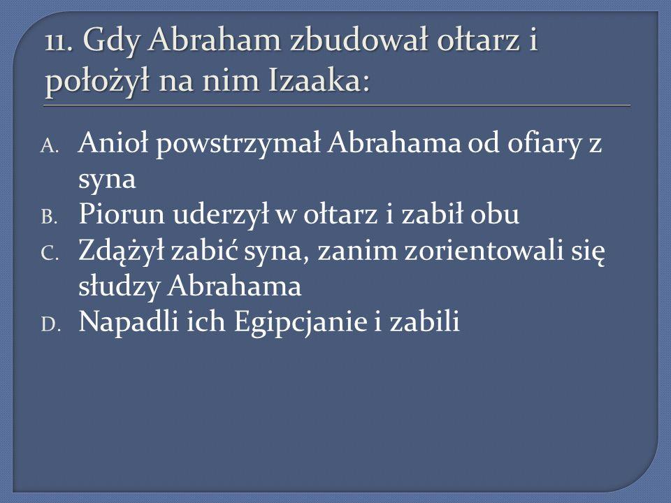 11. Gdy Abraham zbudował ołtarz i położył na nim Izaaka: