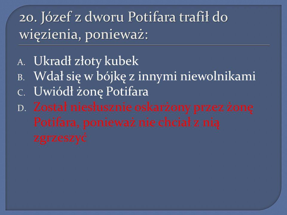 20. Józef z dworu Potifara trafił do więzienia, ponieważ: