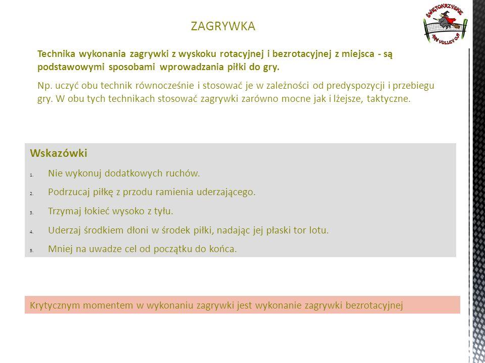 1212 ZAGRYWKA. Technika wykonania zagrywki z wyskoku rotacyjnej i bezrotacyjnej z miejsca - są podstawowymi sposobami wprowadzania piłki do gry.