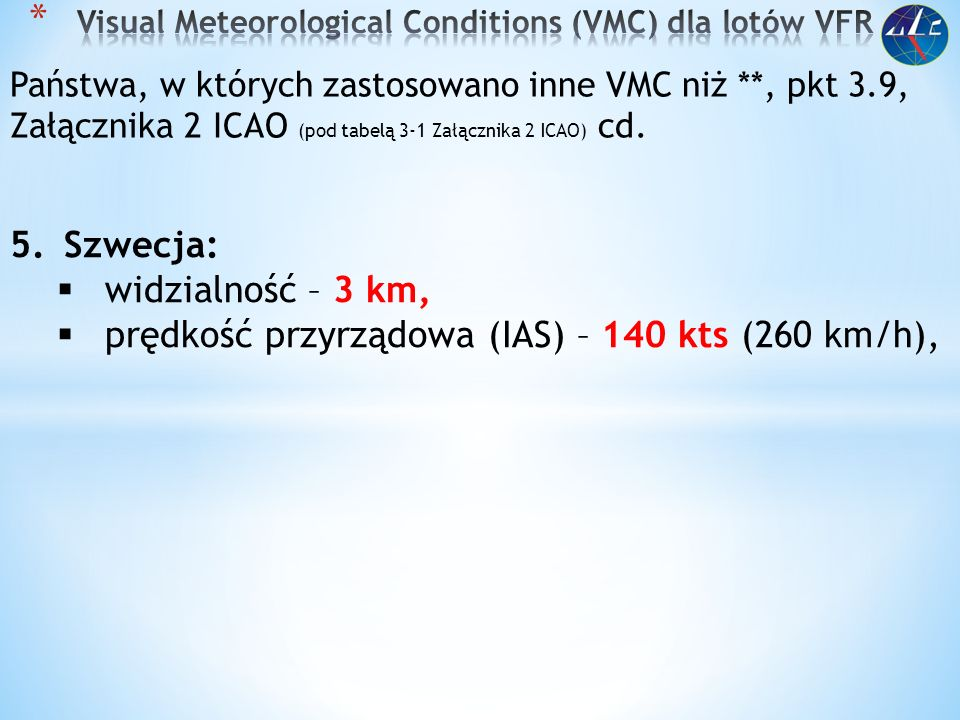 Visual Meteorological Conditions (VMC) dla lotów VFR