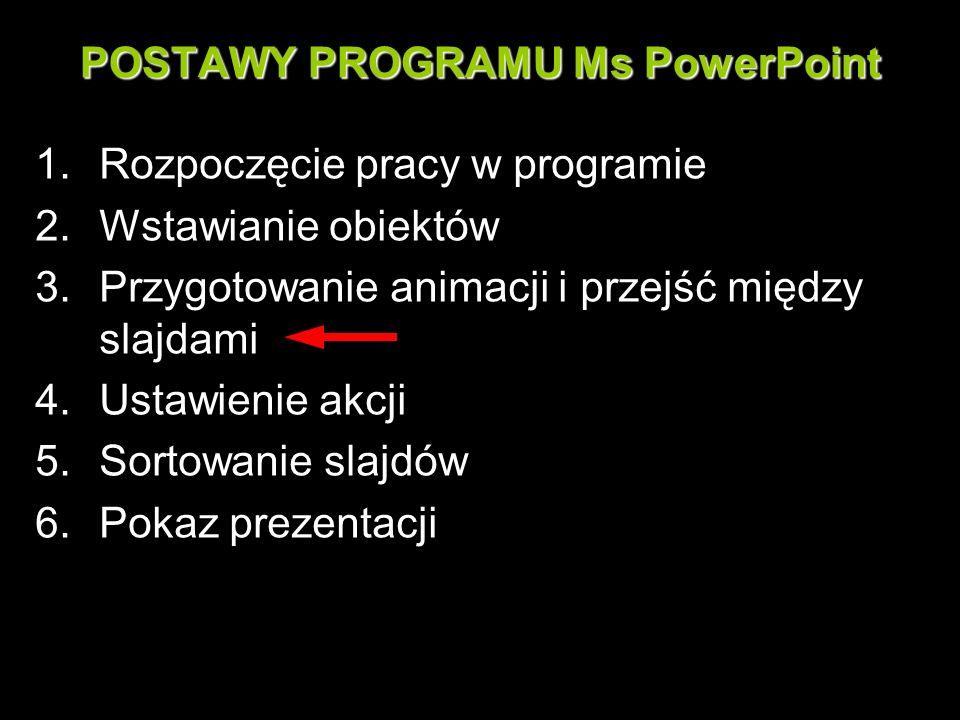 POSTAWY PROGRAMU Ms PowerPoint