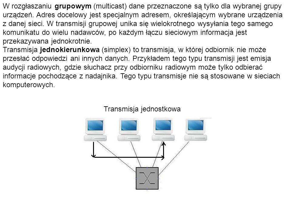 W rozgłaszaniu grupowym (multicast) dane przeznaczone są tylko dla wybranej grupy urządzeń. Adres docelowy jest specjalnym adresem, określającym wybrane urządzenia z danej sieci. W transmisji grupowej unika się wielokrotnego wysyłania tego samego komunikatu do wielu nadawców, po każdym łączu sieciowym informacja jest przekazywana jednokrotnie.