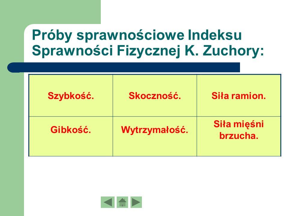 Próby sprawnościowe Indeksu Sprawności Fizycznej K. Zuchory: