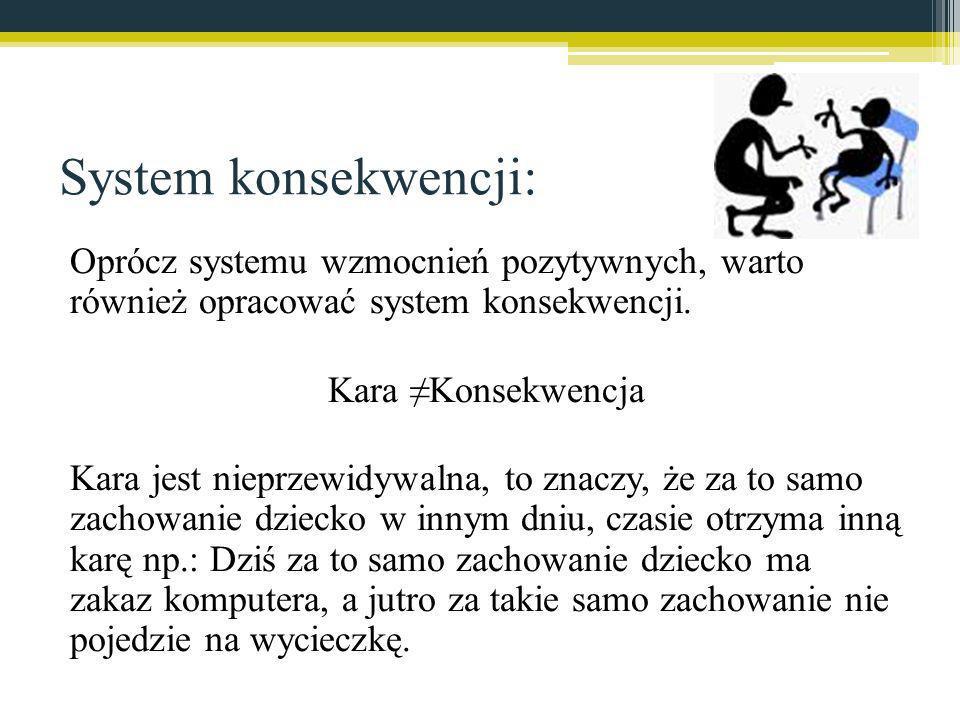 System konsekwencji: Oprócz systemu wzmocnień pozytywnych, warto również opracować system konsekwencji.