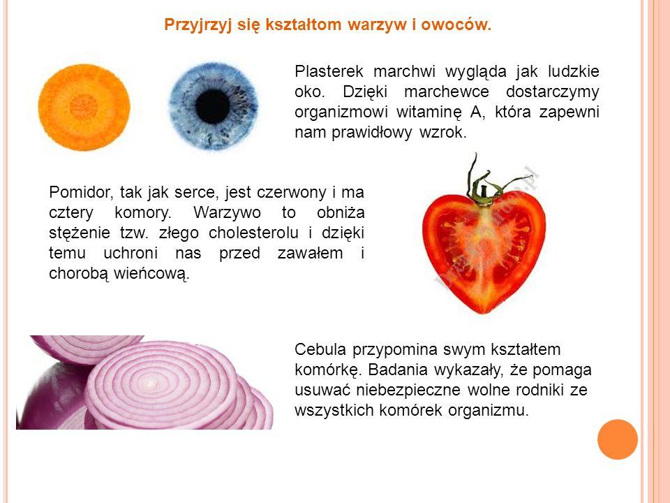 Przyjrzyj się kształtom warzyw i owoców.
