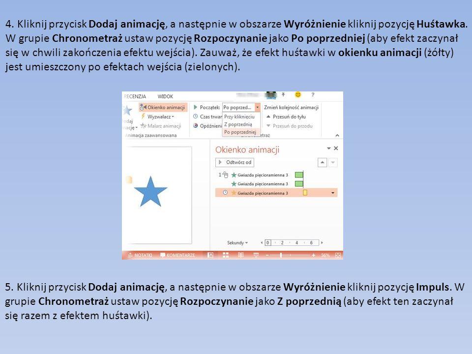 4. Kliknij przycisk Dodaj animację, a następnie w obszarze Wyróżnienie kliknij pozycję Huśtawka. W grupie Chronometraż ustaw pozycję Rozpoczynanie jako Po poprzedniej (aby efekt zaczynał się w chwili zakończenia efektu wejścia). Zauważ, że efekt huśtawki w okienku animacji (żółty) jest umieszczony po efektach wejścia (zielonych).