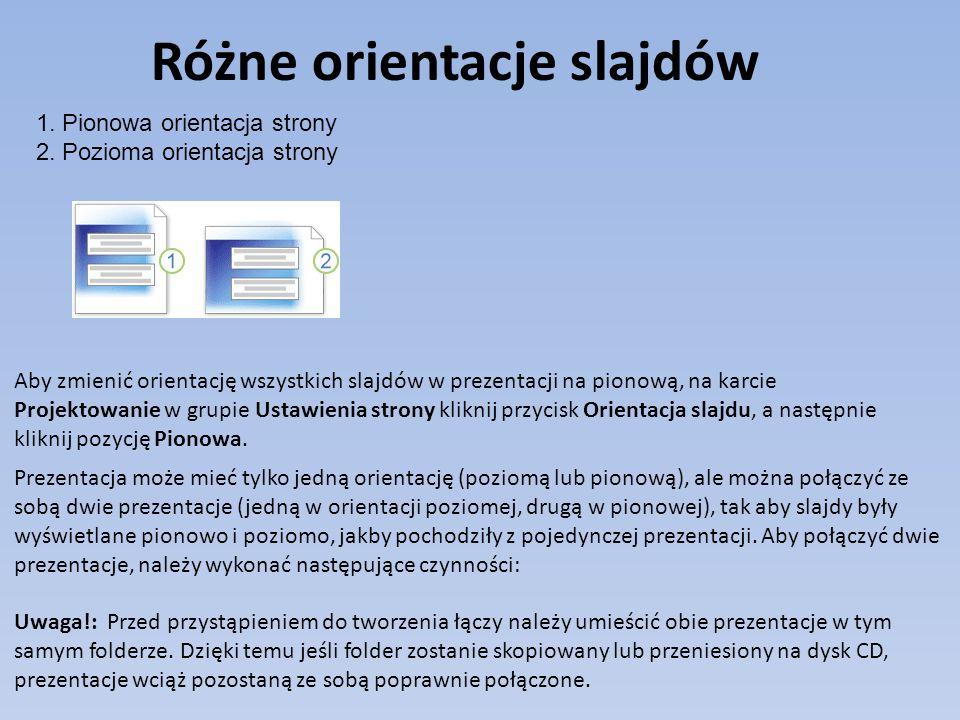 Różne orientacje slajdów