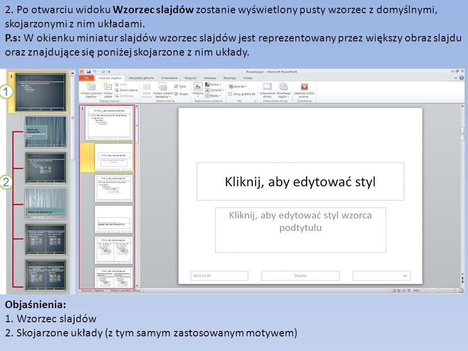 2. Po otwarciu widoku Wzorzec slajdów zostanie wyświetlony pusty wzorzec z domyślnymi, skojarzonymi z nim układami.