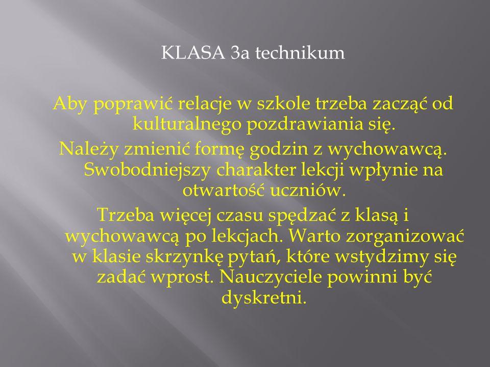 KLASA 3a technikum Aby poprawić relacje w szkole trzeba zacząć od kulturalnego pozdrawiania się.