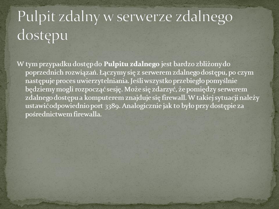 Pulpit zdalny w serwerze zdalnego dostępu