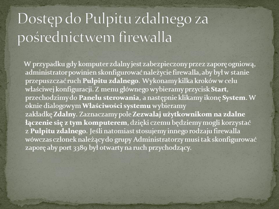 Dostęp do Pulpitu zdalnego za pośrednictwem firewalla